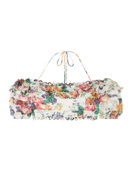 Allia Off The Shoulder Floral Print Linen Top by Zimmermann