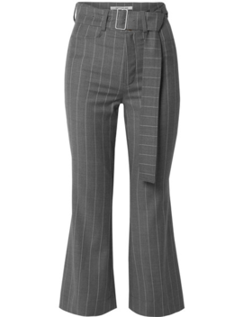 Cropped Belted Pinstriped Wool Blend Flared Pants by Orseund Iris