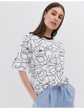 Asos Design Oversized T Shirt In Mono Scribble Print by Asos Design