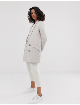Asos Design Linen Coat With Contrast Buttons by Asos Design