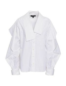 Ruffled Cotton Blend Poplin Shirt by Burberry