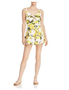 Tie Front Lemon Print Romper   100% Exclusive by Helen Owen X Aqua
