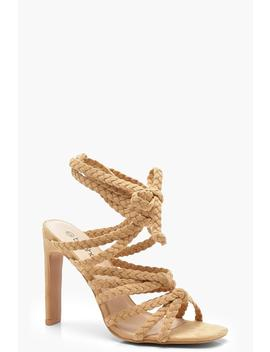 Plait & Knot Front Wrap Heel Sandals by Boohoo