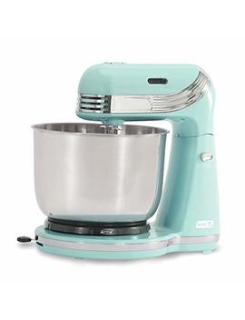 Dash Stand Mixer (Electric Mixer For Everyday Use): 6 Speed Stand Mixer With 3 Qt Stainless Steel Mixing Bowl, Dough Hooks & Mixer Beaters For Dressings, Frosting, Meringues & More   Aqua by Dash