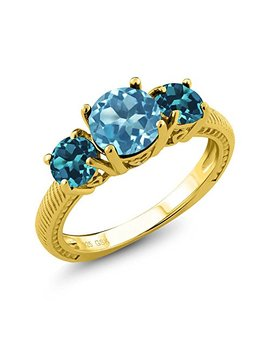 Gem Stone King 2.40 Ct Swiss Blue Topaz London Blue Topaz 18 K Yellow Gold Plated Silver 3 Stone Ring by Gem Stone+King