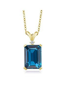 Gem Stone King London Blue Topaz And White Diamond 18 K Yellow Gold Plated Silver Pendant Necklace 8.52 Cttw With 18 Inch Chain by Gem Stone+King
