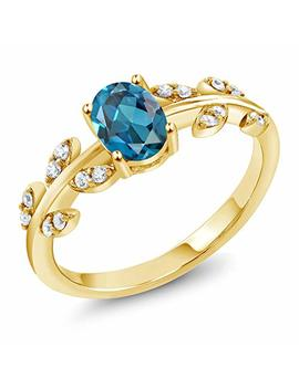 Gem Stone King 18 K Yellow Gold Plated Silver 1.21 Ct Oval London Blue Topaz Solitaire Leaf Ring by Gem Stone+King