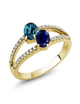 Gem Stone King 1.46 Ct London Blue Topaz Sapphire Two Stone 18 K Yellow Gold Plated Silver Ring by Gem Stone+King