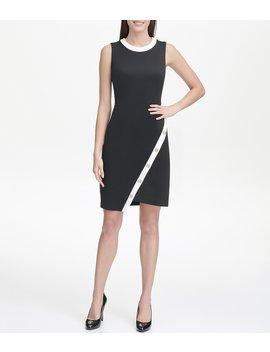 Scuba Colorblock Asymmetric Button Hem Sleeveless Sheath Dress by Tommy Hilfiger