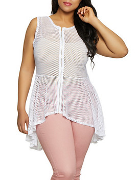 Plus Size Fishnet Zip Front Top by Rainbow