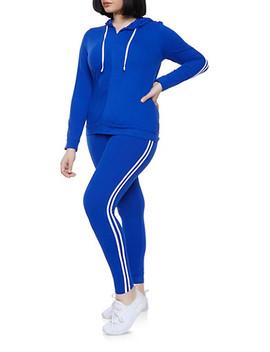 Plus Size Varsity Stripe Zip Front Sweatshirt And Leggings Set by Rainbow