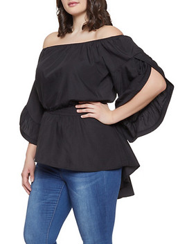Plus Size Split Sleeve Off The Shoulder Top by Rainbow
