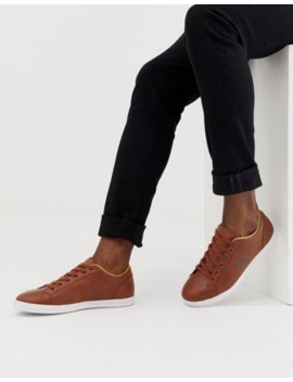 Fred Perry Baseline Leather Sneakers In Tan by Fred Perry