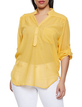 Plus Size Sheer Half Button Blouse by Rainbow