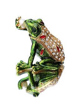 Waltz&F Kiss Pearl Frog Trinket Box Hinged Hand Painted Animal Figurine Collectible Ring Holder by Waltz&F