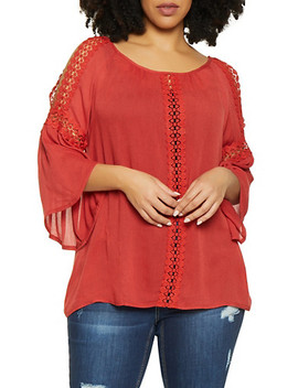 Plus Size Crochet Trim Bell Sleeve Top by Rainbow