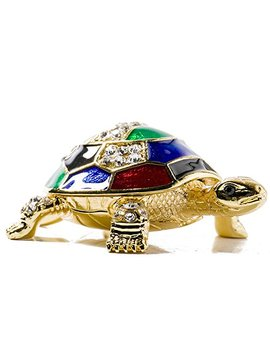 Waltz&F Collectible Figurines Decor Ornaments Pewter Trinket Boxes Bejeweled Turtle With Crystals by Waltz&F