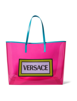 Appliquéd Leather Trimmed Vinyl Tote by Versace