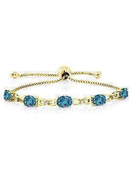 Gem Stone King 4.50 Ct Oval London Blue Topaz 18 K Yellow Gold Plated Silver Diamond Bracelet by Gem Stone+King