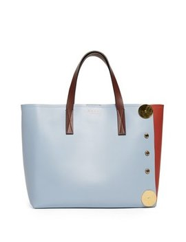 Punch Contrast Panel Leather Tote by Marni