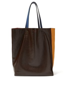 Museum Colour Block Leather Tote by Marni