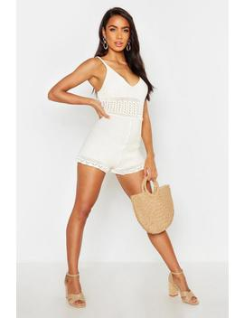 Crochet Knit Playsuit by Boohoo