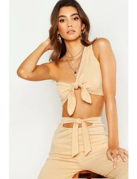 Asymetric Knot Front Crop Top by Boohoo