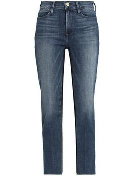 Faded High Rise Straight Leg Jeans by Frame