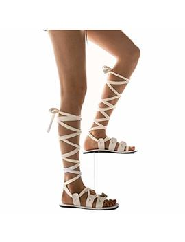 Cenglings Womens Knee High Gladiator Sandals Flat Lace Up Strappy Summer Shoes Flat Sandals by Cenglings