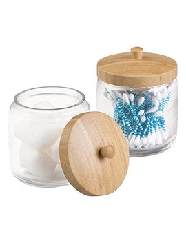 M Design Metro Decor Bathroom Vanity Canister Jar For Cotton Balls, Swabs, Cosmetic Pads, 2 Piece, Clear/Natural by M Design