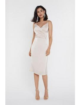 Satin Strappy Wrap Detail Dress by Nasty Gal
