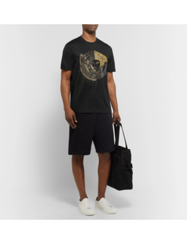 Logo Embellished Cotton Jersey T Shirt by Versace