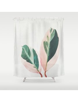 Pink Leaves I Shower Curtain by Society6