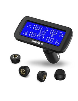 Cacagoo Wireless Tpms Tire Pressure Monitoring System With 4pcs External Sensors (0 8.0 Bar/ 0 116 Psi), Temperature And Pressure Lcd Display, Real Time Alarm Function by Cacagoo