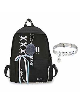 Youyouchard Bts Backpack For Women Girls For Laptop Hiking Travel With A Bts Bracelet by Youyouchard