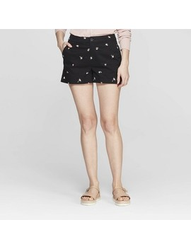 womens-floral-print-high-rise-chino-shorts---a-new-day-black by rise-chino-shorts