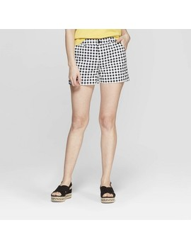 Women's Gingham High Rise Chino Shorts   A New Day Black by Rise Chino Shorts