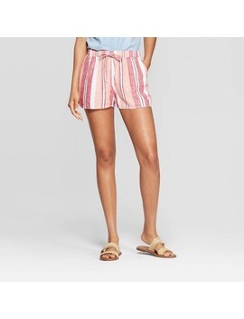 womens-striped-mid-rise-pull-on-shorts---universal-thread-pink by rise-pull-on-shorts