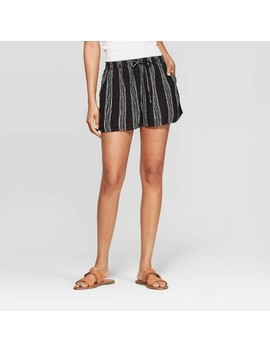 womens-striped-mid-rise-pull-on-shorts---universal-thread-black_white by rise-pull-on-shorts