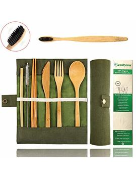 Bamboo Utensils Cutlery Set Bewbow – Reusable Cutlery Travel Set – Eco Friendly Wooden Silverware For Kids & Adults – Outdoor Portable Utensils With Case – Bamboo Spoon, Fork, Knife, Brush, Chopsticks by Bewbow