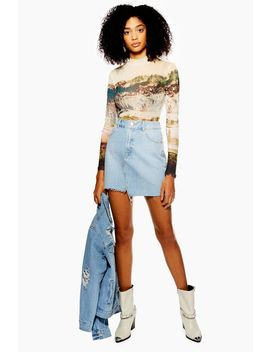 Tall Asymmetric Denim Mini Skirt by Topshop
