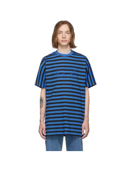 Blue & Black Striped Oversized T Shirt by Martine Rose