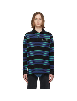 Blue Jacquard Long Sleeve Polo by Martine Rose