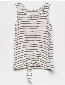 White Fawn Stripe Tie Front Cream & Black Girls Tank Top by White Fawn
