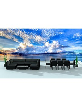 Urban Furnishing.Net   Black Series 16 Piece Outdoor Dining And Sofa Sectional Patio Furniture Set by Urban Furnishing