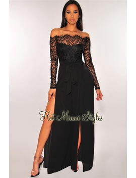 8500cddf224 Black Lace Long Sleeves Belted Slit Palazzo Jumpsuit by Hot Miami Style
