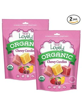 Organic Chewy Candies (2 Pack)   Lovely Co. (2) 5oz Bags   Strawberry, Lemon & Cherry Flavors | No Hfcs, Gluten Or Fake Ingredients, 100% Vegan & Kosher! by Lovely Candy Company