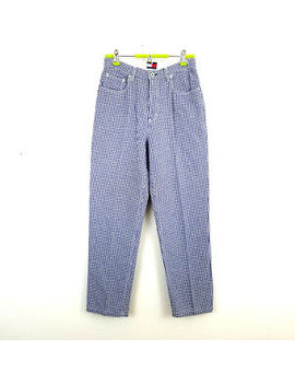 Tommy Hilfiger Womens Gingham Check Pants Size 10 Blue White by Tommy Hilfiger