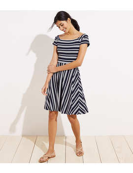 Striped Wrap Back Flare Dress by Loft
