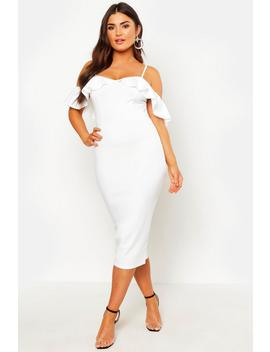 Strappy Frill Cold Shoulder Dress by Boohoo